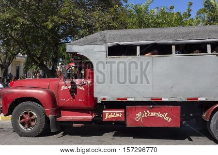 People Ride Truck Buses (camion) In Holguin