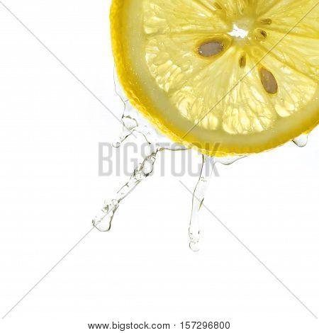 Lemon slice in water splash, white background, isolated, flowing water