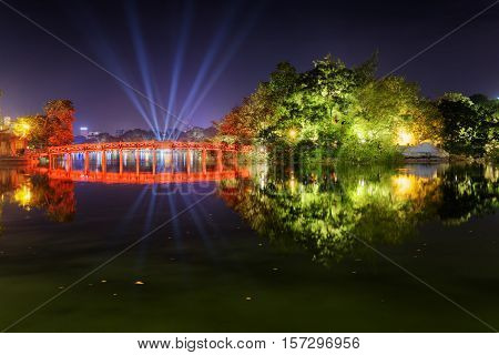 Night View Of The Huc Bridge On The Sword Lake In Hanoi, Vietnam