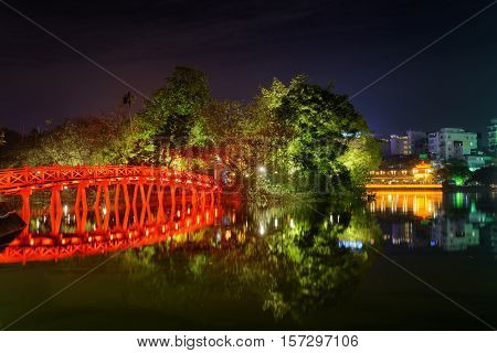 Night View Of The Huc Bridge Reflected In The Sword Lake, Hanoi