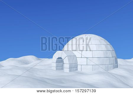 Winter north polar snowy landscape - eskimo house igloo icehouse made with white snow on the surface of snow field under cold north blue sky 3d illustration.