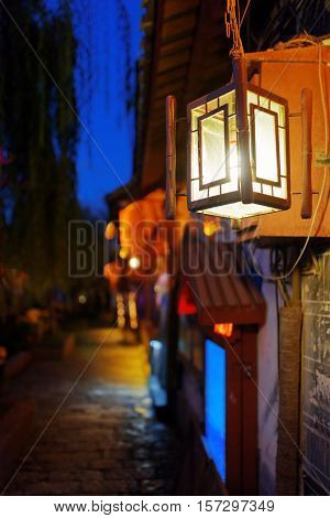 Night View Of Traditional Chinese Street Lamp, Lijiang