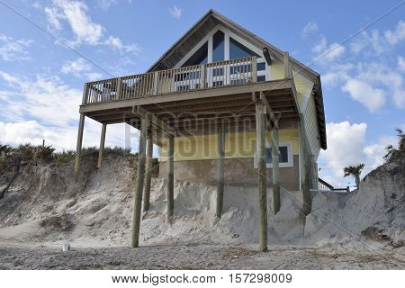 VILANO BEACH, FLORIDA, USA - NOVEMBER 6, 2016: Aftermath of house damage caused by hurricane Matthew hitting along the east coast of Florida on October 7, 2016.