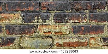 Dark Grunge Brickwall With Broken Stucco Texture. Old Brick Wall With Damaged Shabby Black Plaster Background. Distressed Urban Stonewall. Peeled Rough Decay Surface. Abstract Web Banner