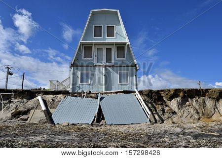 VILANO BEACH, FLORIDA, USA - NOVEMBER 6, 2016: Aftermath of beach house damage caused by hurricane Matthew hitting on the east coast of Florida on October 7, 2016.