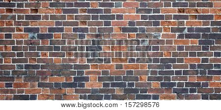 Mottled Red Brown Black Old Rustic Brick Wall Background. Retro Wide  Brickwall. Grungy Urban Texture. Interior Design Element In Vintage Modern Style. Abstract Architecture Web Banner