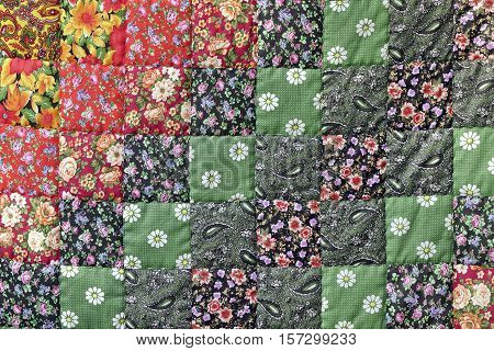 Homemade Patchwork Quilt Background With Colorful Handmade Ethnic Geometric Pattern