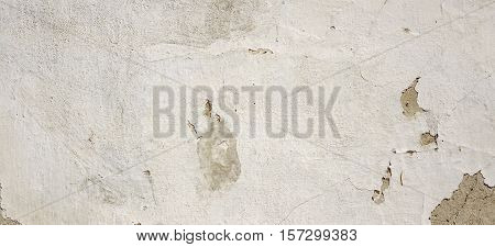 Dirty Plastered White Grey Wall. Shabby Horizontal Banner Texture Background