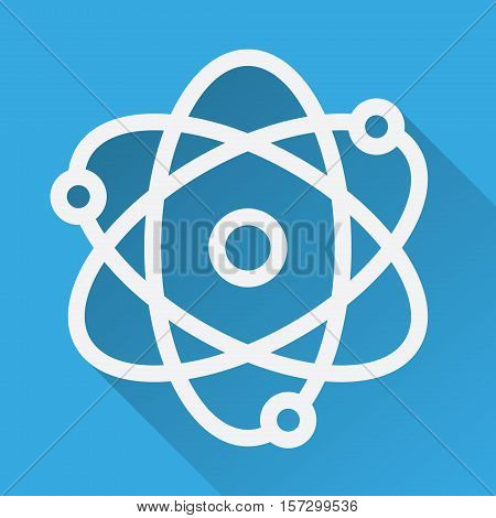 Atom flat linear long shadow icon. Atomic structure model. Physics sign. Vector line symbol.