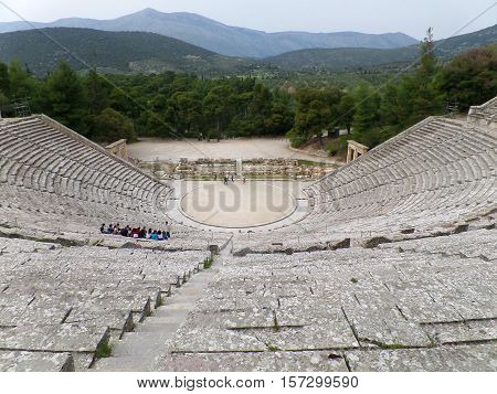 Well Preserved Stunning Ancient Theatre of Epidaurus in Greece