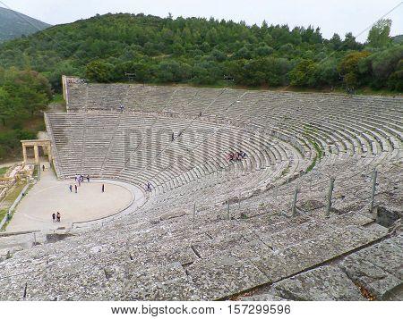 Breathtaking view of Ancient Theatre of Epidaurus, Greece, UNESCO World Heritage