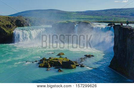 Beautiful vibrant panorama picture with a view on icelandic waterfall in iceland goddafoss gullfoss skogafoss skogarfoss dettifoss seljalandsfoss