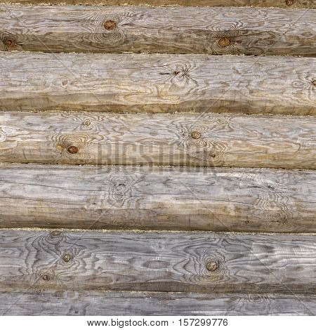 Old Rustic Log Cabin Or Barn Wall Square Texture Background
