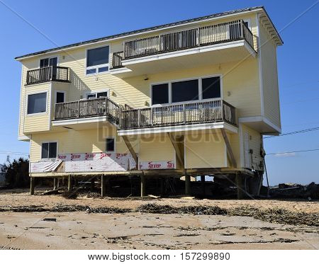 VILANO BEACH, FLORIDA, USA - NOVEMBER 9, 2016: Aftermath of beach house damage caused by hurricane Matthew hitting on the east coast of Florida on October 7, 2016.