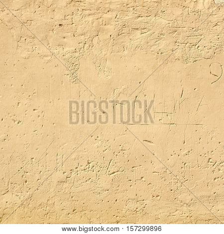 Grungy Yellow Cracked  Plaster Old Wall Frame Square Background Texture