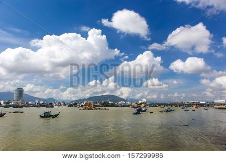 A view over the river harbour in Nha Trang Vietnam.