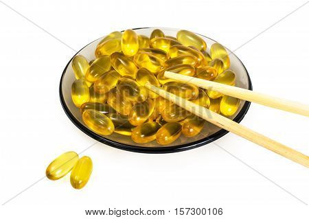 Omega3 Extra capsules from Fish Oil on white background. Studio Photo