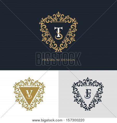 Monogram design elements graceful template. Calligraphic elegant line art logo design. Letter emblem sign T V F for Royalty business card Boutique Hotel Heraldic Jewelry. Vector illustration