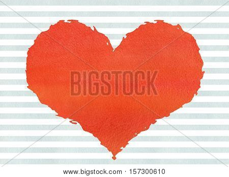 Red Watercolor Grunge Heart On Watercolor Blue Stripes Background.