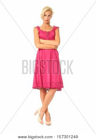 Full Length Of Flirtatious Woman In Pink Dress Isolated On White