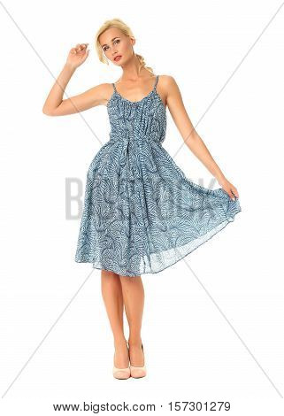 Portrait Of Flirtatious Woman In Blue Summer Dress Isolated On White
