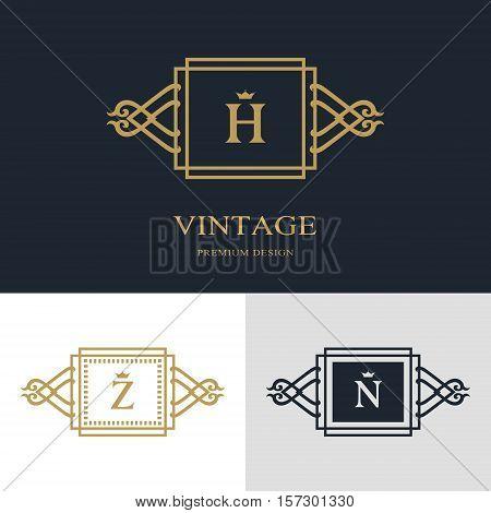 Monogram design elements graceful template. Calligraphic elegant line art logo design. Letter emblem sign H Z N for Royalty business card Boutique Hotel Heraldic Jewelry. Vector illustration