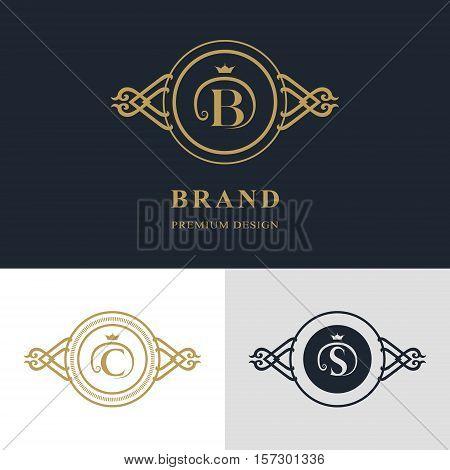 Monogram design elements graceful template. Calligraphic elegant line art logo design. Letter emblem sign B C S for Royalty business card Boutique Hotel Heraldic Jewelry. Vector illustration