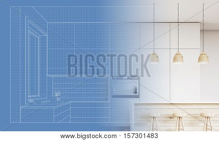 Blueprint of a kitchen with furniture sink and oven becoming a real kitchen. Concept of making your projects come to life. 3d rendering.