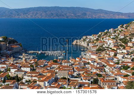 Panoramic views of Hydra island, Greece, Aegean sea.