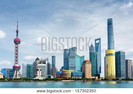 View Of Pudong Skyline. Lujiazui, Shanghai, China
