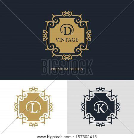 Monogram design elements graceful template. Calligraphic elegant line art logo design. Letter emblem sign D L K for Royalty business card Boutique Hotel Heraldic Jewelry. Vector illustration