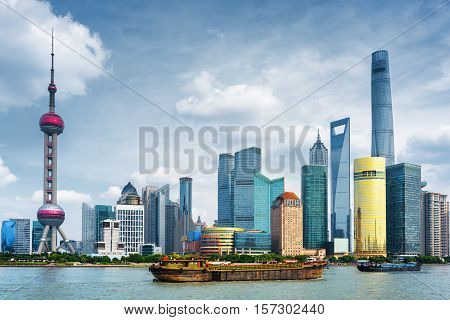 Self-propelled Barges On The Huangpu River In Shanghai, China