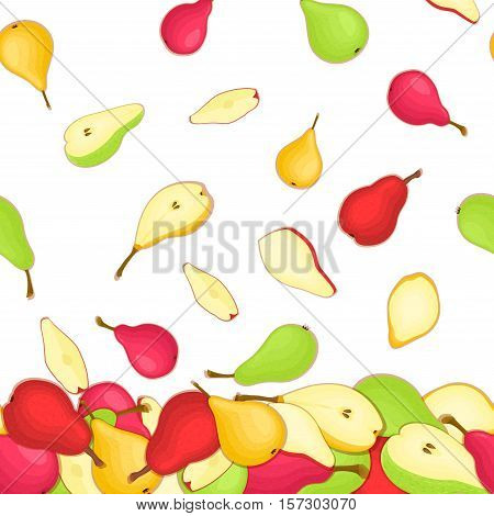 Vector illustration of falling pears. Yellow red and green vector pattern pear fruits whole and slice appetizing looking. Group of tasty fruits colorful design for packaging of juice breakfast, food