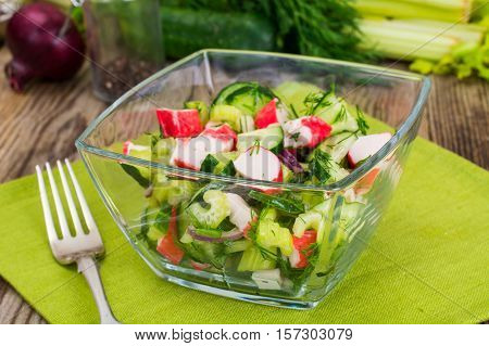 Salad of Celery, Crab Stick, Cucumber and Dill Studio Photo