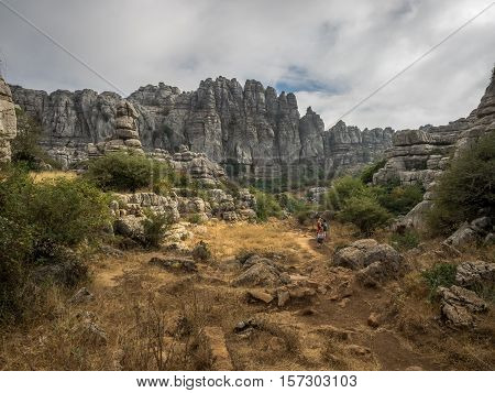 Antequera Spain - 11th September 2016: A view of El Torcal de Antequera fascinating mountain rock formations in southern Spain.