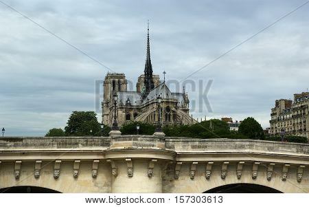 Notre Dame de Paris also known as Notre Dame Cathedral Paris France