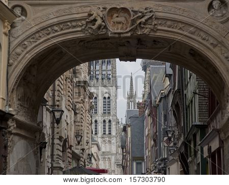 traditional Old houses in Rouen Haute-Normandy France