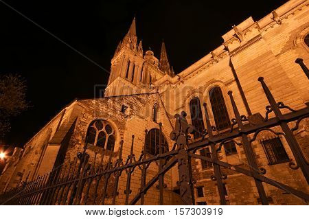 Saint-maurice Cathedral At Night, Angers In France