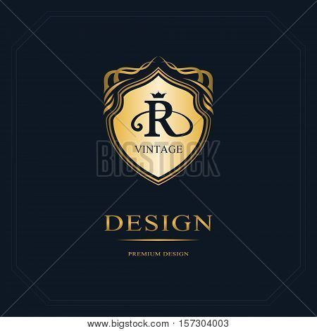 Monogram design elements graceful template. Calligraphic elegant line art logo design. Letter emblem sign R for Royalty business card Boutique Hotel Heraldic Jewelry. Vector illustration