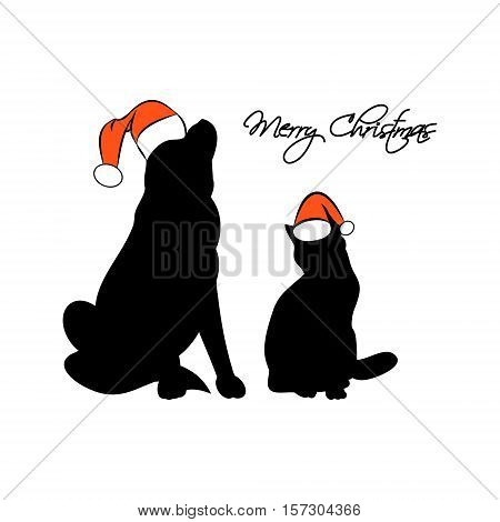 The silhouette of a cat and dog in the Santa hat. The inscription merry Christmas on a white background. Vector illustration