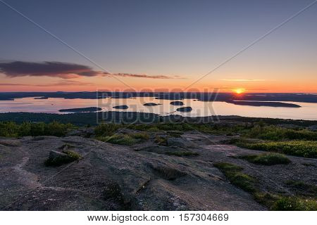View from Cadillac mountain. Acadia National Park Maine. Sunrise