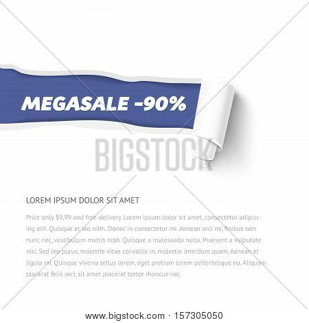 Vector torn paper template with paper roll. Ripped pieces of paper with shadow and space for text isolated on white background. Hole in white paper with torn sides.