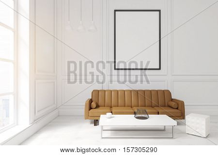 Living Room With Poster, Brown Sofa And A Coffee Table