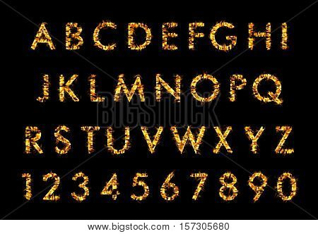 Fire font, alphabet in flames on black background