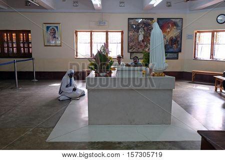 KOLKATA, INDIA - FEBRUARY 11: Mother Teresa tomb in Mothers House in Kolkata, India on February 11, 2016.