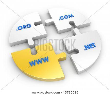 WWW, com, net, org. Global communication concept