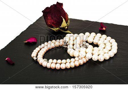 Pearl Necklace on black background. Studio Photo