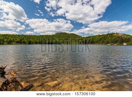 Bowl Pond at Acadia National Park. Maine New England. Partly Cloudy day