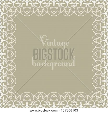 Beautiful sweet square Vintage background with openwork frame.