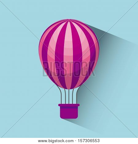 air balloon icon over blue background. colorful design. vector illustration